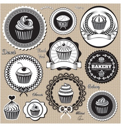 set of design elemnts icons for baking and bakery vector image