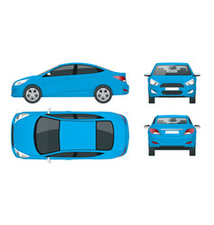 Set of sedan cars compact hybrid vehicle eco vector