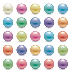 set shiny pearls vector image