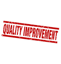 Square grunge red quality improvement stamp vector