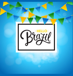 Square hello brazil background with flags image vector