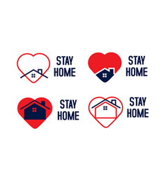 Stay home logo set collection for isolation vector
