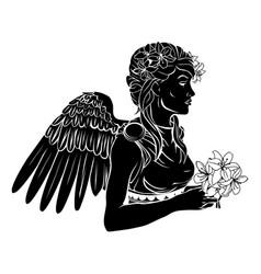 Stylized angel woman vector