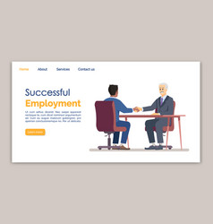 Successful employment landing page template hr vector