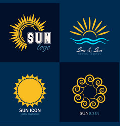 Sun icon logo collection vector