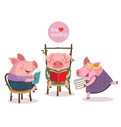 Three little pigs reading a book vector