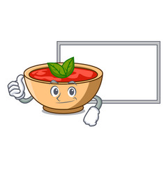 Thumbs up with board tomato soup character cartoon vector
