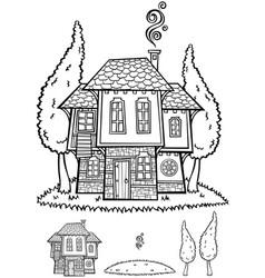 traditional bulgarian house line art vector image