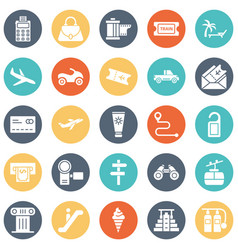 Travel isolated icons set every single ico vector