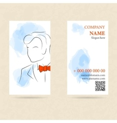 Vertical business card man in orange bow tie vector image