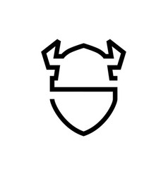 viking hat shield logo icon line outline monoline vector image