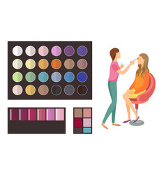 Visage makeup of client woman palette set vector