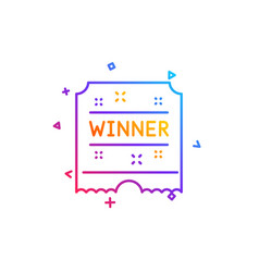 Winner ticket line icon amusement park award sign vector