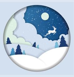 Winter landscape paper cut deer vector