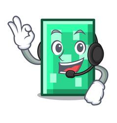 With headphone rectangle mascot cartoon style vector