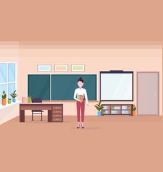 woman teacher standing in modern school classroom vector image