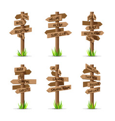 Wooden arrow signboards resort set vector