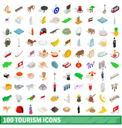 100 tourism icons set isometric 3d style vector image