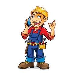 Cartoon Builder Talking vector image vector image