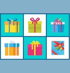 christmas present set of icons vector image