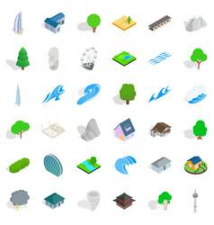 city element icons set isometric style vector image