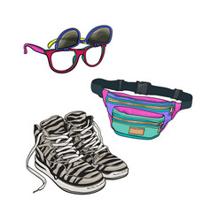 retro fashion - high sneakers sunglasses with vector image