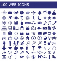 100 icons for web applications vector image