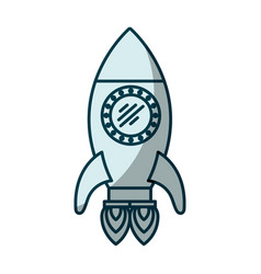 Blue shading silhouette of space rocket with two vector