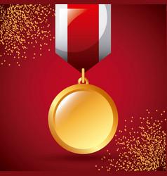 golden medal award win ribbon decoration vector image