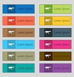 machine gun icon sign Set of twelve rectangular vector image