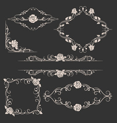 ornamental floral frames set vector image vector image