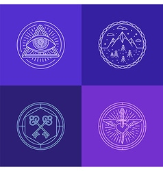 set of linear abstract symbols and signs vector image vector image
