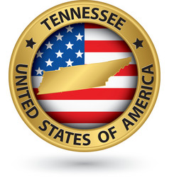 Tennessee state gold label with state map vector image