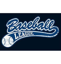 Blue baseball league banner with ball vector image