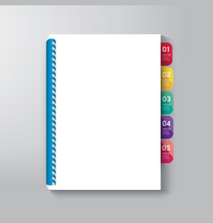 Book cover with tab design style template vector