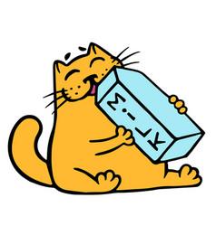 cartoon orange cat is drinking milk isolated vector image