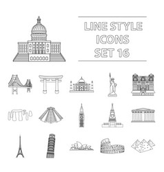 Countries set icons in outline style big vector