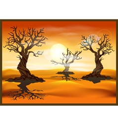 desert landscape with dead trees vector image