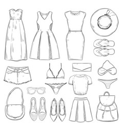 hand drawn female summer clothes set vector image vector image
