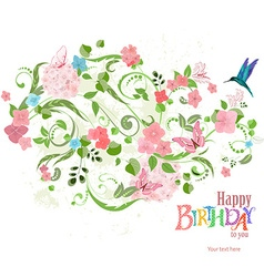 invitation card with a lovely floral ornament for vector image
