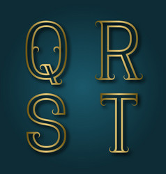 q r s t shiny golden letters with shadow vector image