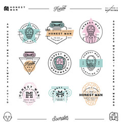 set of honest man clothing company labels vector image