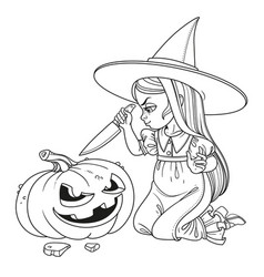sweet girl in witch costume sitting on the floor vector image vector image