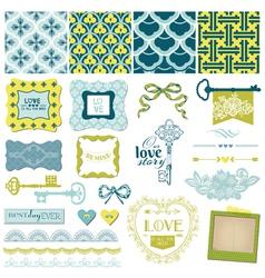Vintage Love and Wedding Set vector image vector image