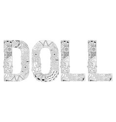 word doll for coloring decorative vector image vector image
