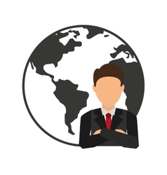 world planet with businesman vector image