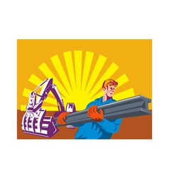 construction worker at work with digger vector image vector image
