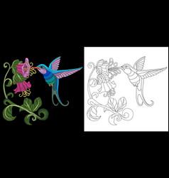 embroidery hummingbird design vector image