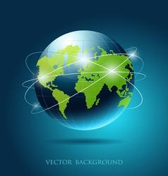 modern globe network blue background vector image vector image