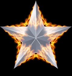 Silver star surrounded by fire vector image vector image